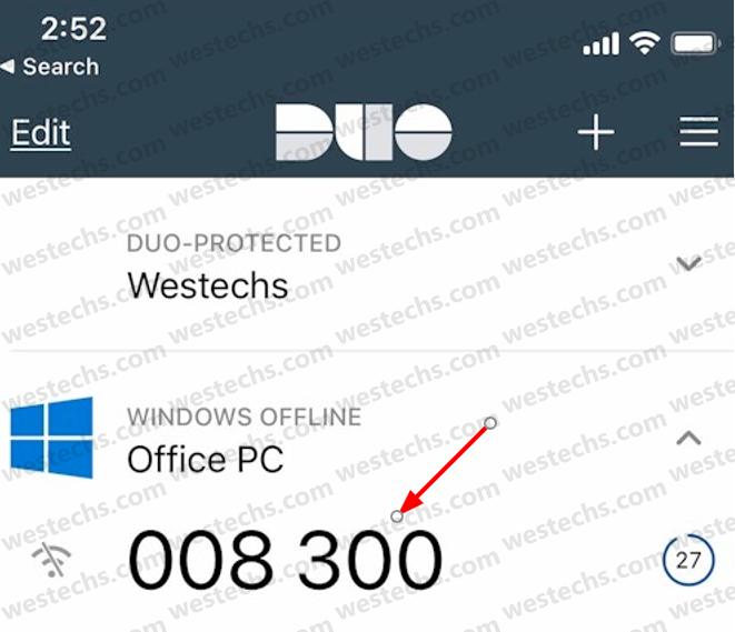 Duo MFA offline code